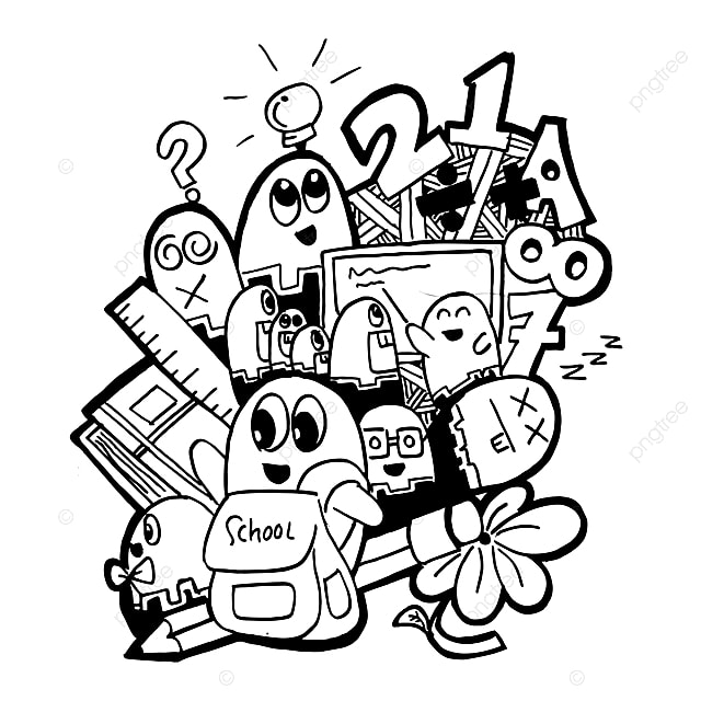 monstre school fantasme doodle mignon dr u00f4le les