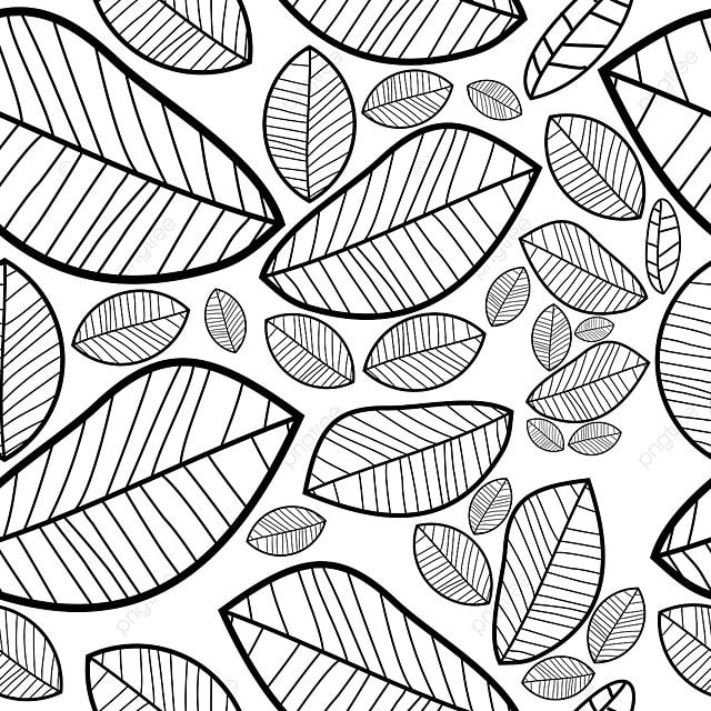 Hand Drawing Leaves Shading Seamless Autumn Pattern Background Fl Png And Vector