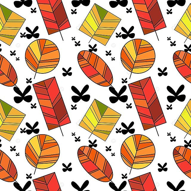 Hand Drawn Colorful Autumn Leaves Pattern Seamless Trendy
