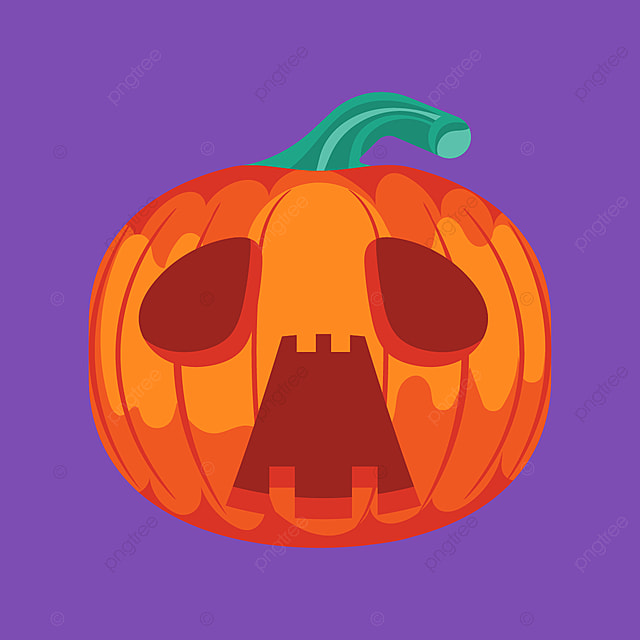 halloween pumpkin with sad face on purple background パーティー