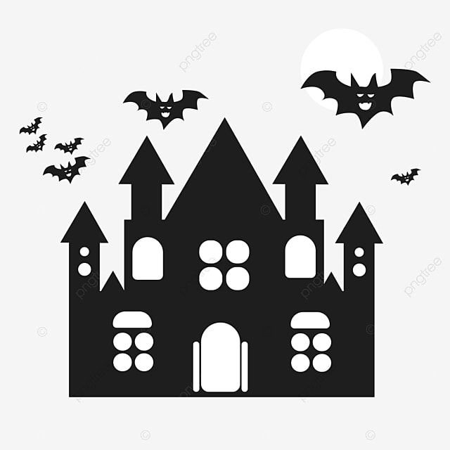 ch u00e2teau d  u00e9l u00e9ments simples silhouettes halloween simple cartoon modern png et vecteur pour