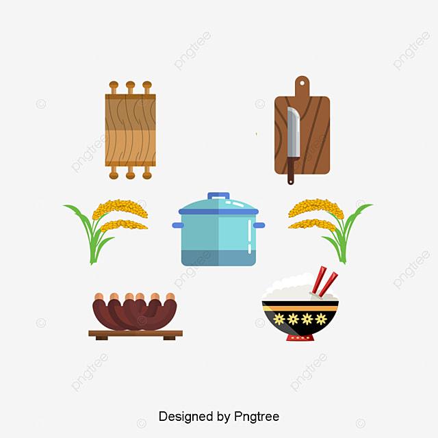 Simple Cartoon Flat Accesorios De Cocina Elementos Decorativos ...