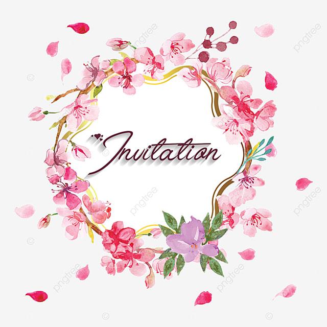 invitation floral frame pink flowers vintage frame png