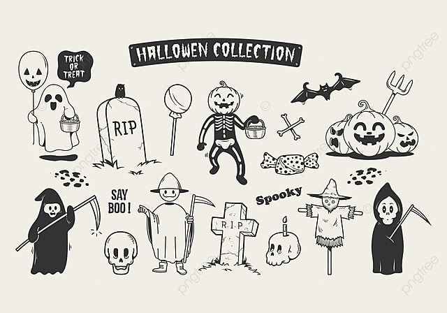 Set Of Halloween Sketch Doodle Cartoon Character Art Background Balloon PNG And