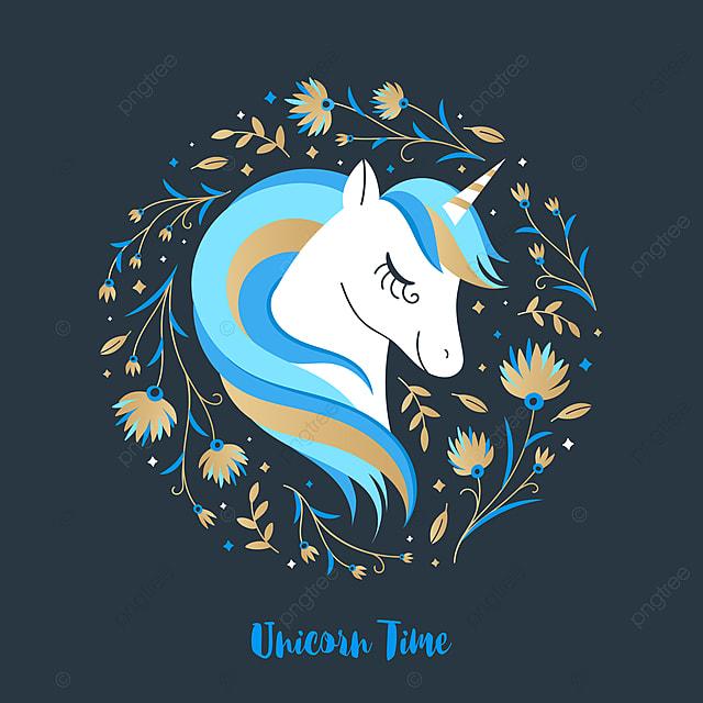 Testa Di Un Magico Unicorno Sullo Sfondo Di Fiori Colorati Cavallo