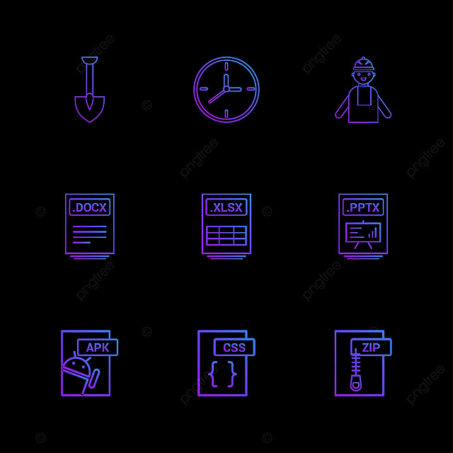 9 High Quality Outline Icon Set, Clock, Collection, Compressed PNG