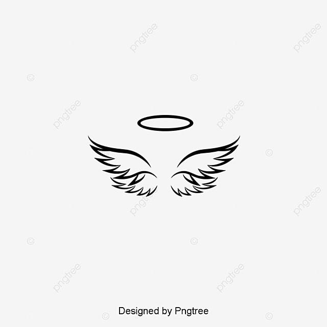 silueta de simple dise u00f1o de alas de angel minimalista