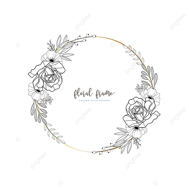 I Designed A Vintage Looking Border Art For You To Use In: Hand Drawn Floral Frame With Boho Style, Frame, Floral