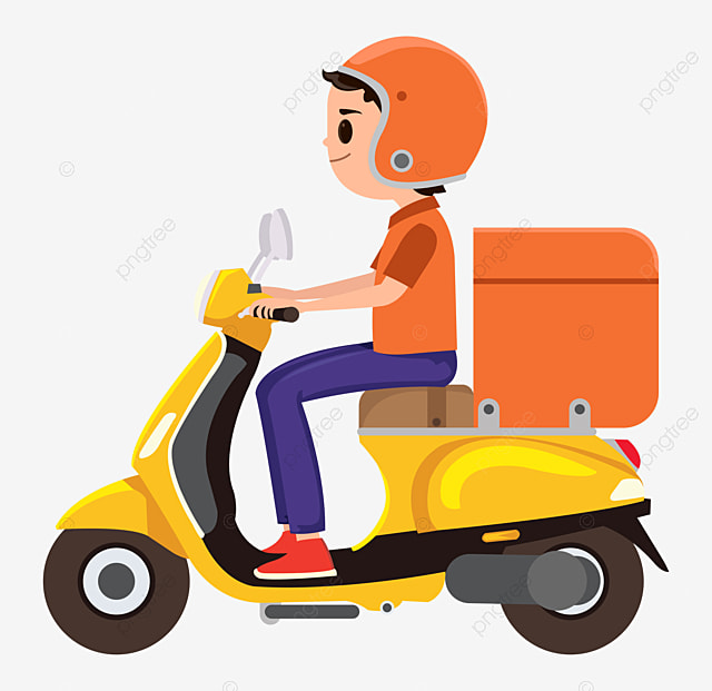 A Young Boy Riding An Orange Delivery Scooter, Man ...