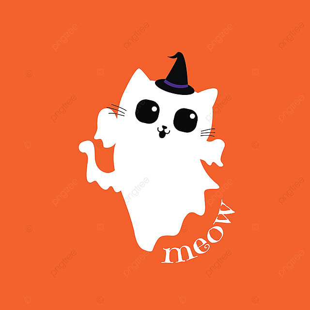 Cute Ghost Cat For Halloween Day Halloween Cat Isolated Png And Vector With Transparent Background For Free Download