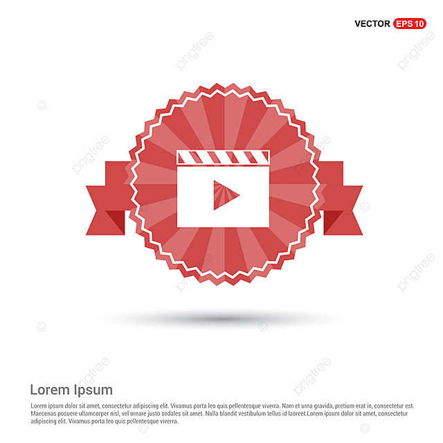 Film Strip Icon Red Ribbon Banner App Application Background