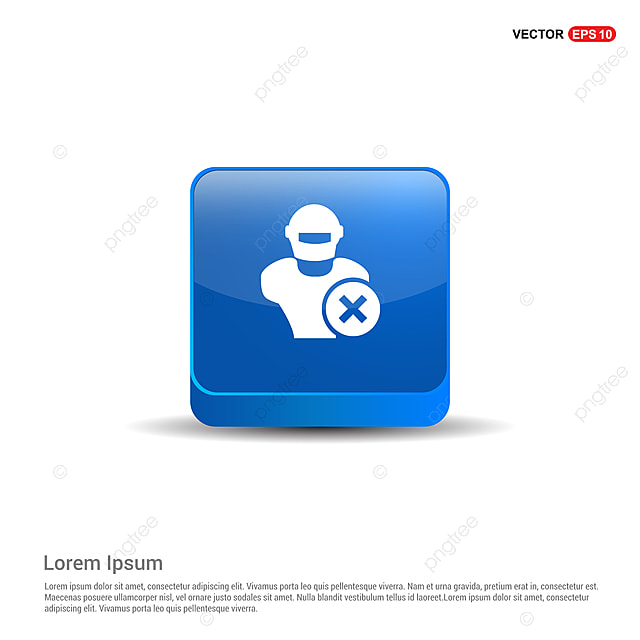 Hacker Icon 3d Blue Button Black Character Computer Png And Vector With Transparent Background For Free Download