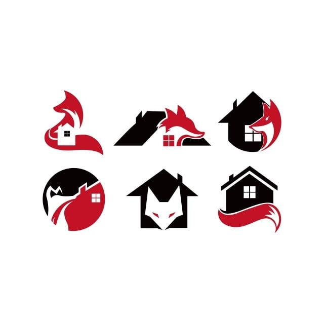 حيوان الثعلب عقارات المنزل تصميم شعار القالب التوضيح