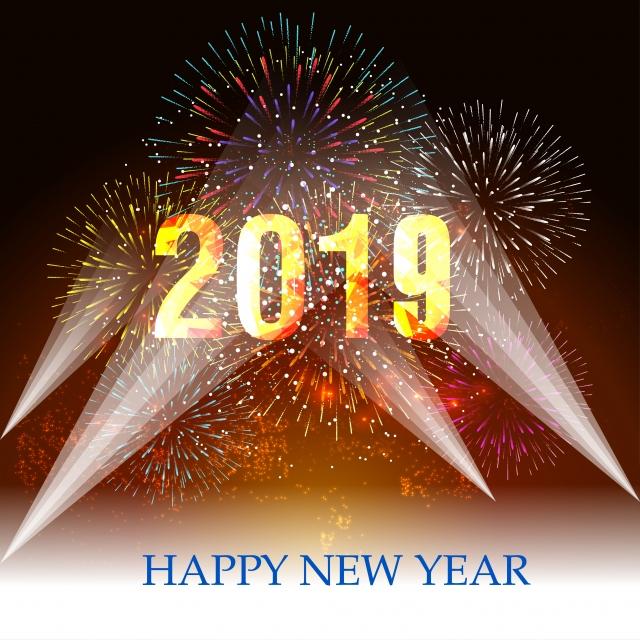 Feliz Ano Nuevo De 2019 Y Rural Concepto Con Fuegos Artificiales Que