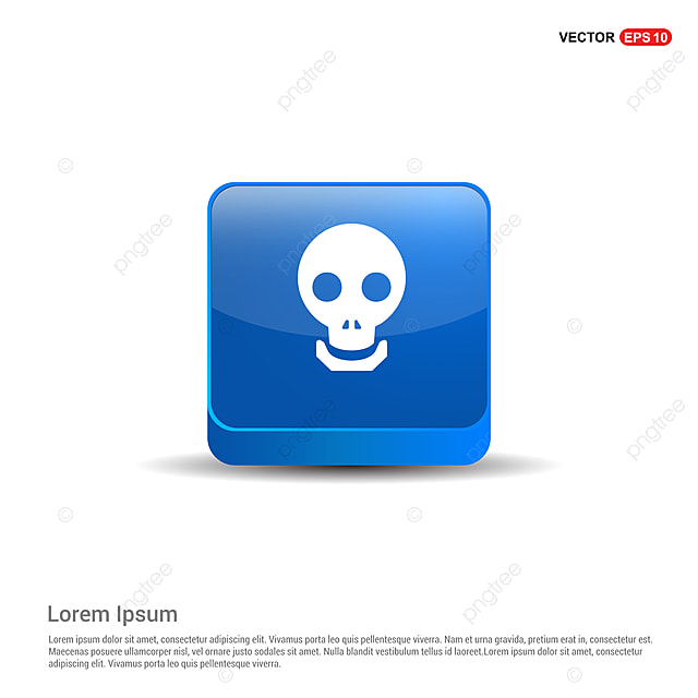 Halloween Skull Icon - 3d Blue Button, Anatomy, Blue, Bones