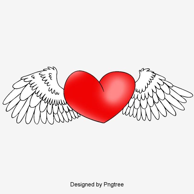 Cartoon Cute Corazones Alas De Angel Elemento Moda Cartoon Pintados