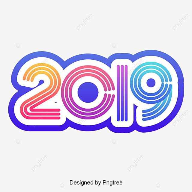 Hny 2019: мультфильм градиент резюме 2019 новый год элемент просто