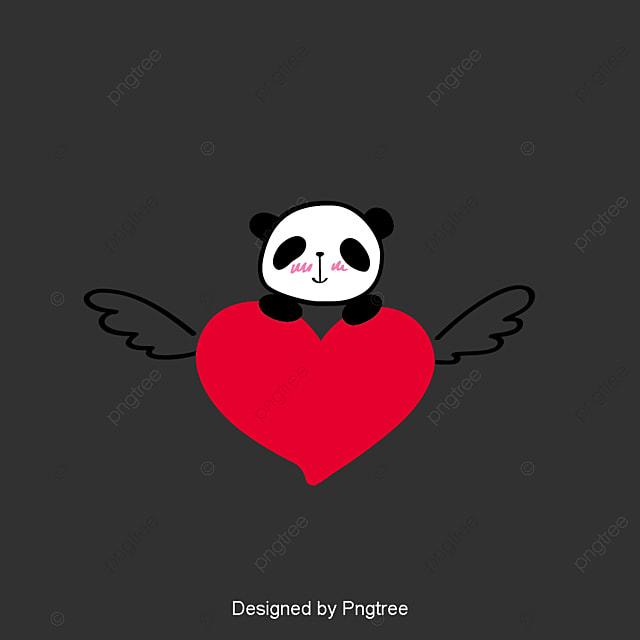 Dessin Panda Facile joli dessin panda et voler un cœur rouge élément simple cartoon