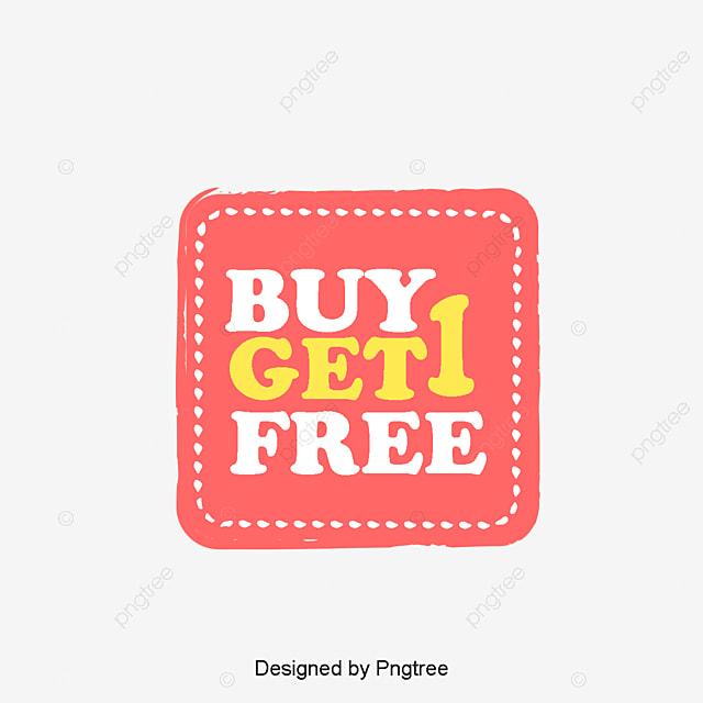 Kad Mudah Membeli 1 Mendapatkan 1 Label Elemen Percuma PNG dan PSD