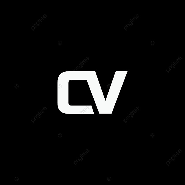 Cv Logo Template Icon Isolated On Black Background Business