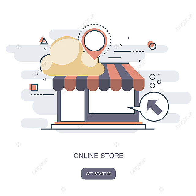 Shop Designer Online Line Shopping Icon Flat Graphic Design Vector Art