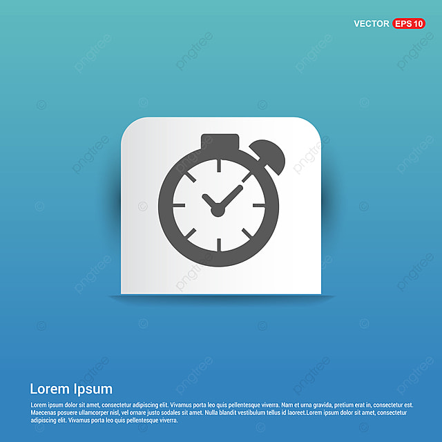 Clock Icon - Blue Sticker Button, 24, App, Background PNG and Vector