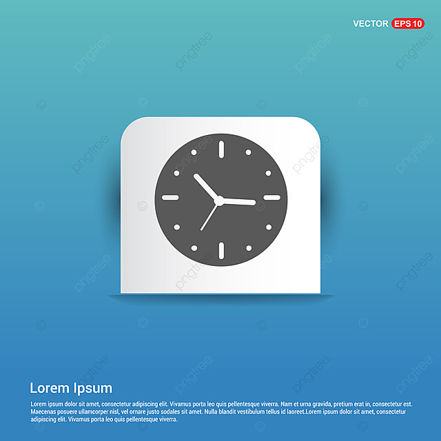 Clock Icon - Blue Sticker Button, 24, App, Background PNG