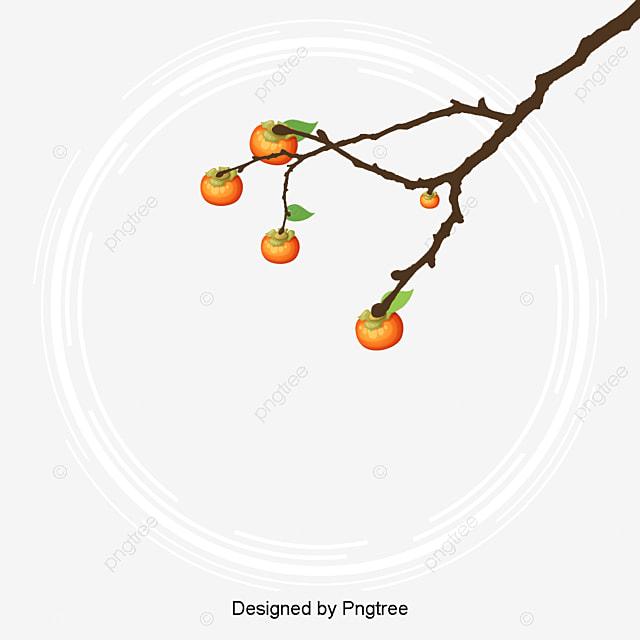 モダンファッションシンプルな手描きの柿イラスト シンプル