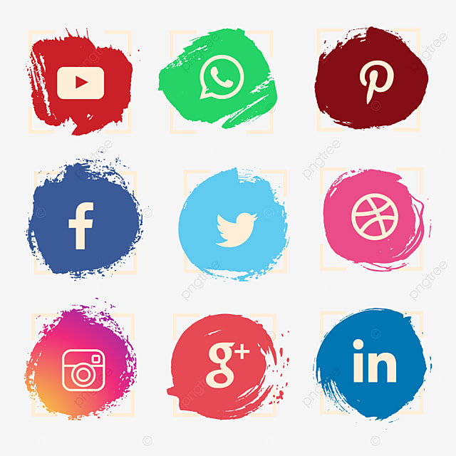 55987de766 Watercolor Social Media Icon Set