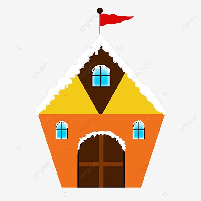 雪の家のイラスト ホーム 積雪小屋 家の旗画像素材の無料ダウンロードの