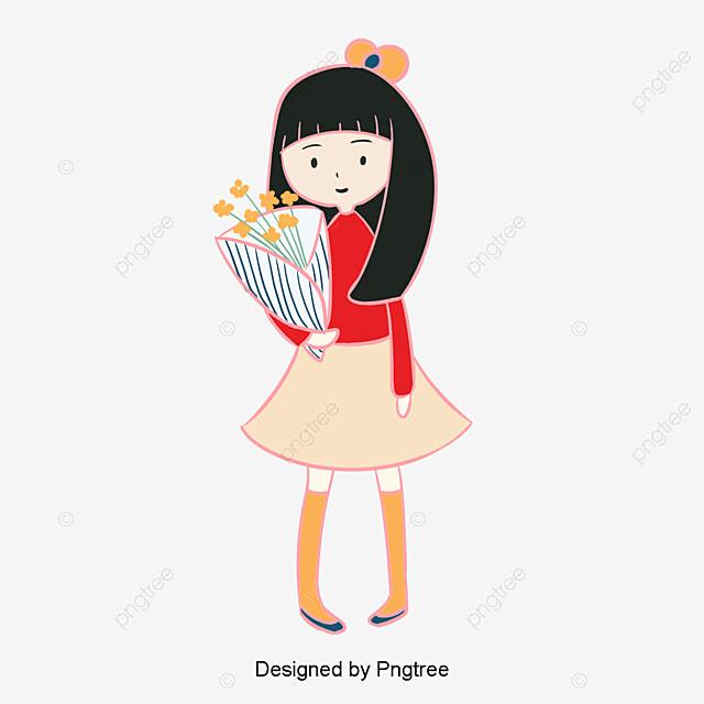 Una Chica Bonita Con Un Poco De Flor En Su Mano Dibujos Animados
