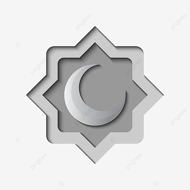 paper art with crescent moon illustration vector in grey color 3d adha arms png and vector with transparent background for free download https pngtree com freepng paper art with crescent moon illustration vector in grey color 3661169 html