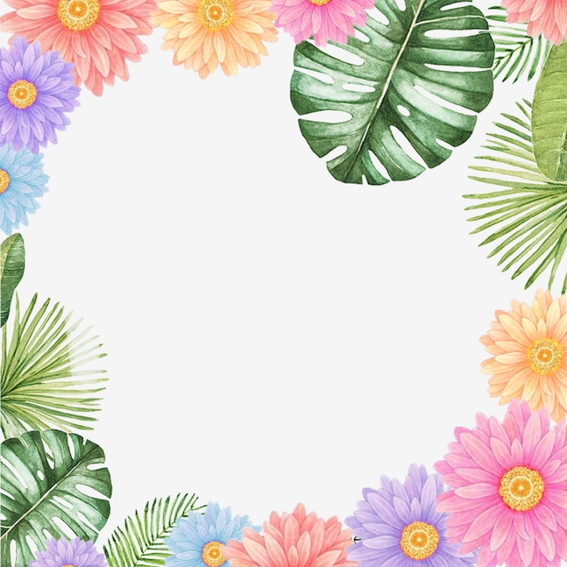 Beautiful And Colorful Flower Border Elements Design, Ring