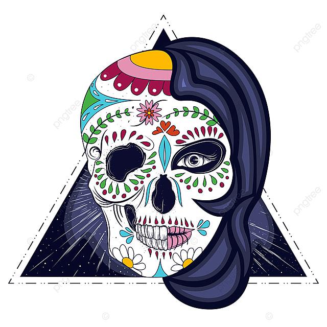 Womans Cabeza Con Media Cara Calavera Grabado Vector Mujer Muerto