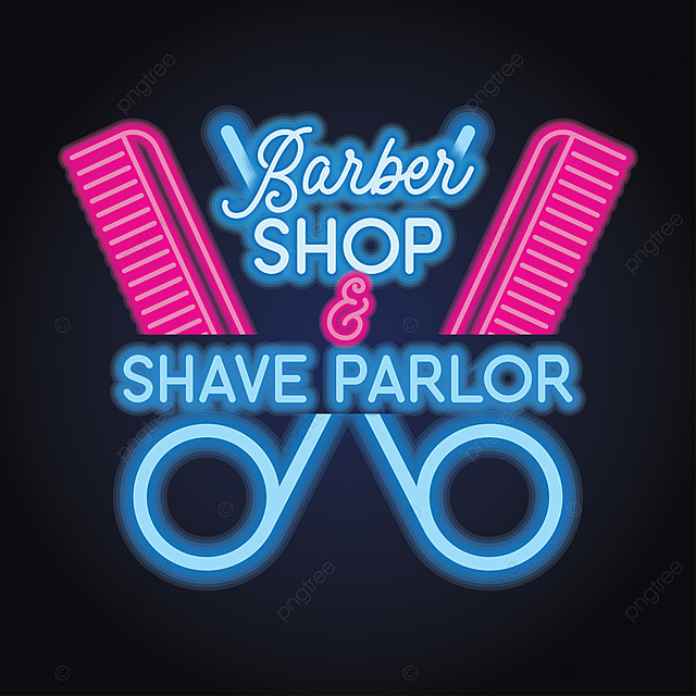 Neon Light Shop In Philippines: Barber Shop Logo With Neon Light Effect. Vector