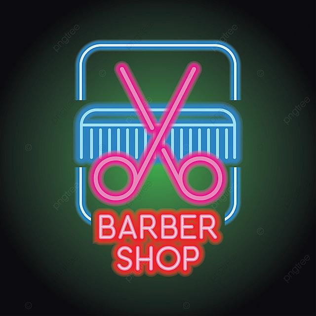 Fryzjer Logo W świetle Neonu Efektwektor Ilustracja Fryzjer