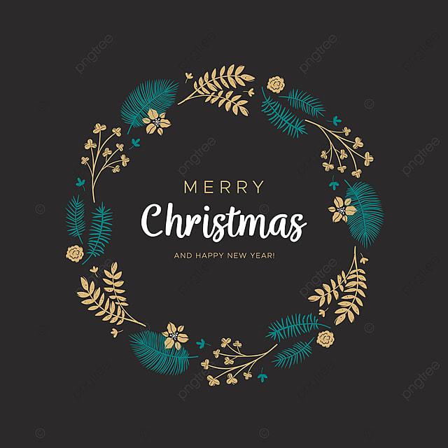 Guirlande De Noël Avec Feuilles Dorées Et Branches De Pin, Noël, Couronne, Rond PNG et Vector