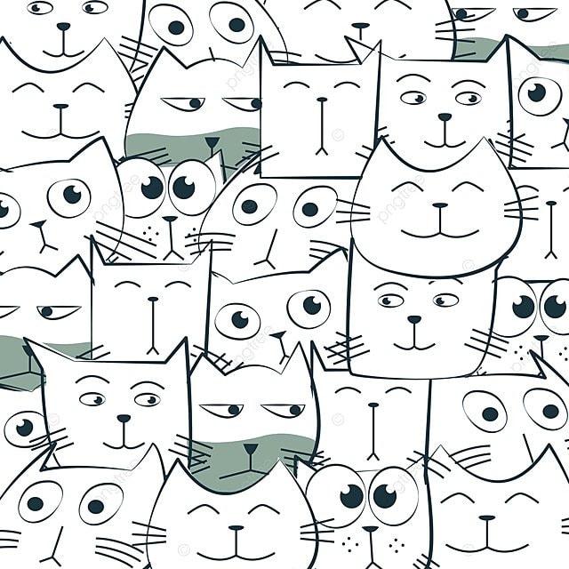 Lindo Gato Negro Y Blanco Patron De Dibujos Animados Patrón CAT ...
