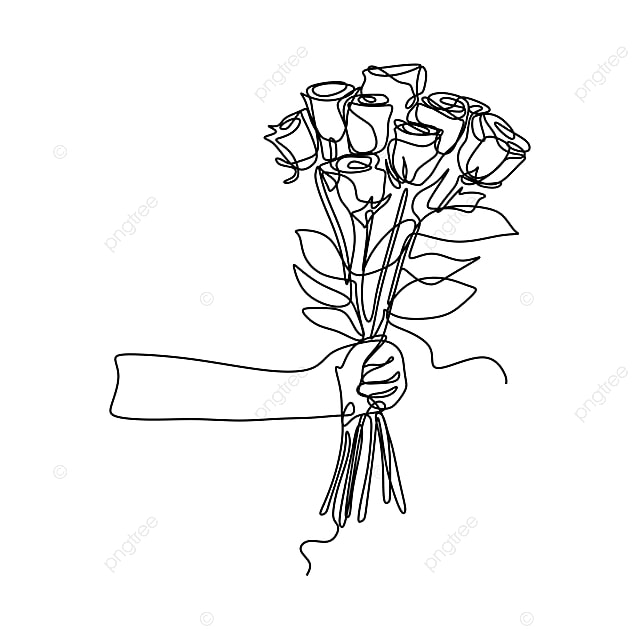Holding Rose Flowers A Bunch Of Flower Continuous Line Art Blossom Nature Leaf Png And Vector With Transparent Background For Free Download