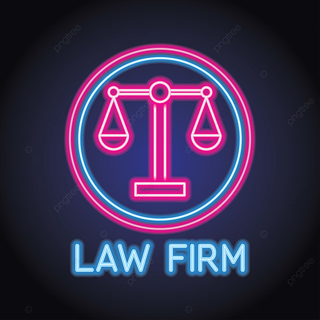 Law Firm Logo For Law Firm Office With Neon Light Effect