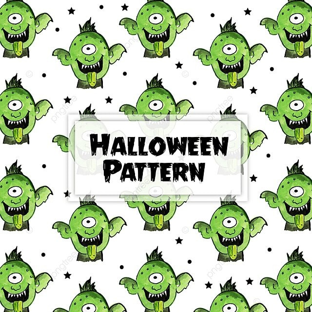 Acuarela Halloween Elementos Pattern Background Acuarela Colorido ...