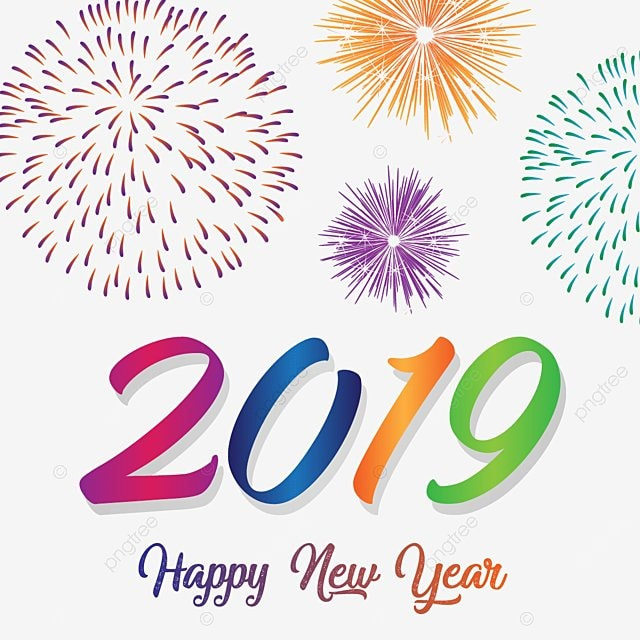 Happy New Year 2019 With Colorful Fireworks, Year, New