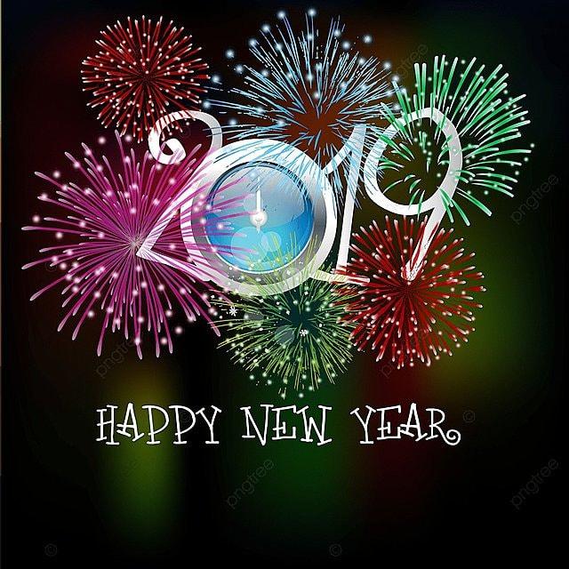 Feliz Ano Nuevo Con Hermosos Fuegos Artificiales Decoracion 2019
