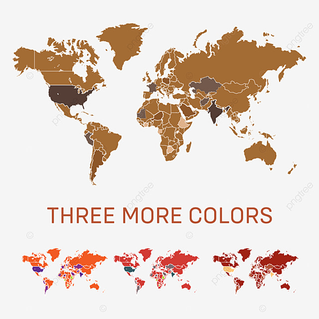 World Map Skin Tone Color With Three Different Colors Map World