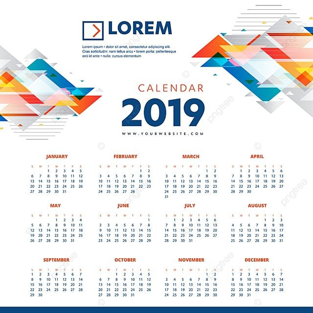 calendar 2019 colorful template vector illustration desk office new year calendar template design