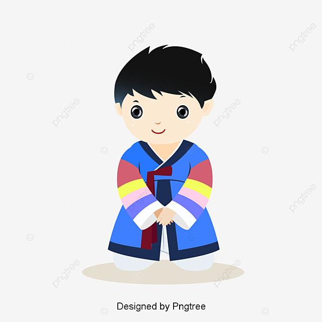かわいい服を着て韓国服イラスト 少年 漫画少年 漫画キャラクターの無料