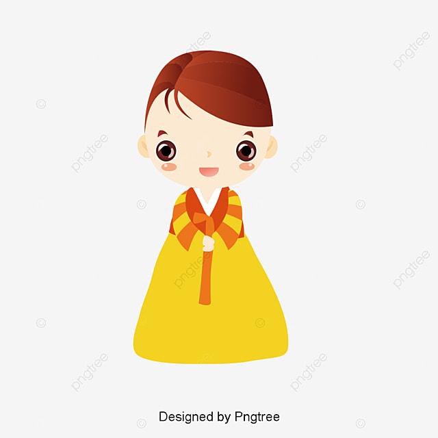 Cute Girl Wear Korea Clothing Illustration Girl Cartoon Figure
