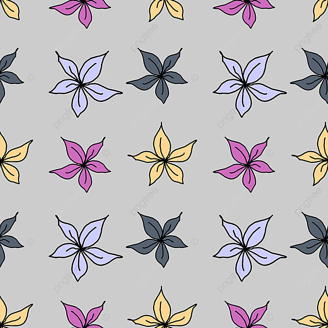 Colorful Flower Drawing Seamless Pattern Isolated On Grey Background Vector Illustration For Fashion Textile Print Colorful Flower Pattern Png And Vector With Transparent Background For Free Download