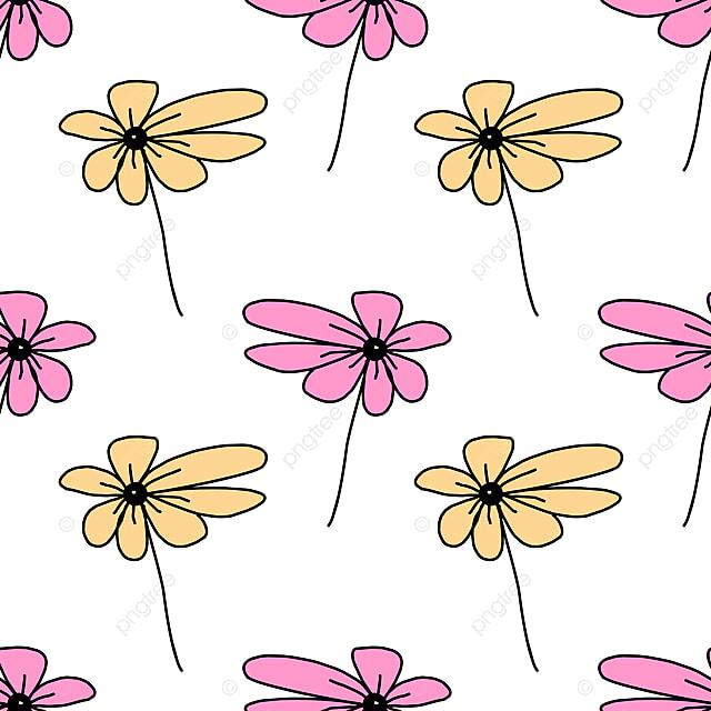 Bergaya Kanak Kanak Melukis Bunga Lancar Corak Vektor