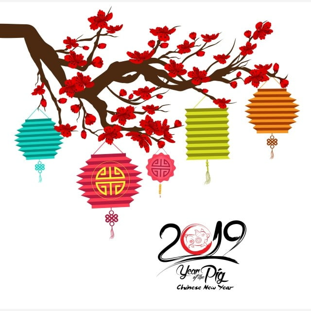 2019 Chinese New Year Greeting Card With Pig Emblem And